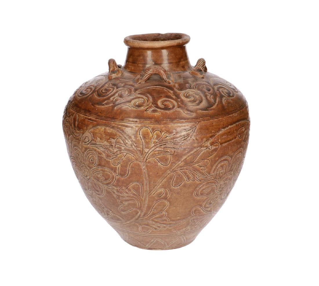 A brown glazed stoneware Martavan with four grips, with - 3