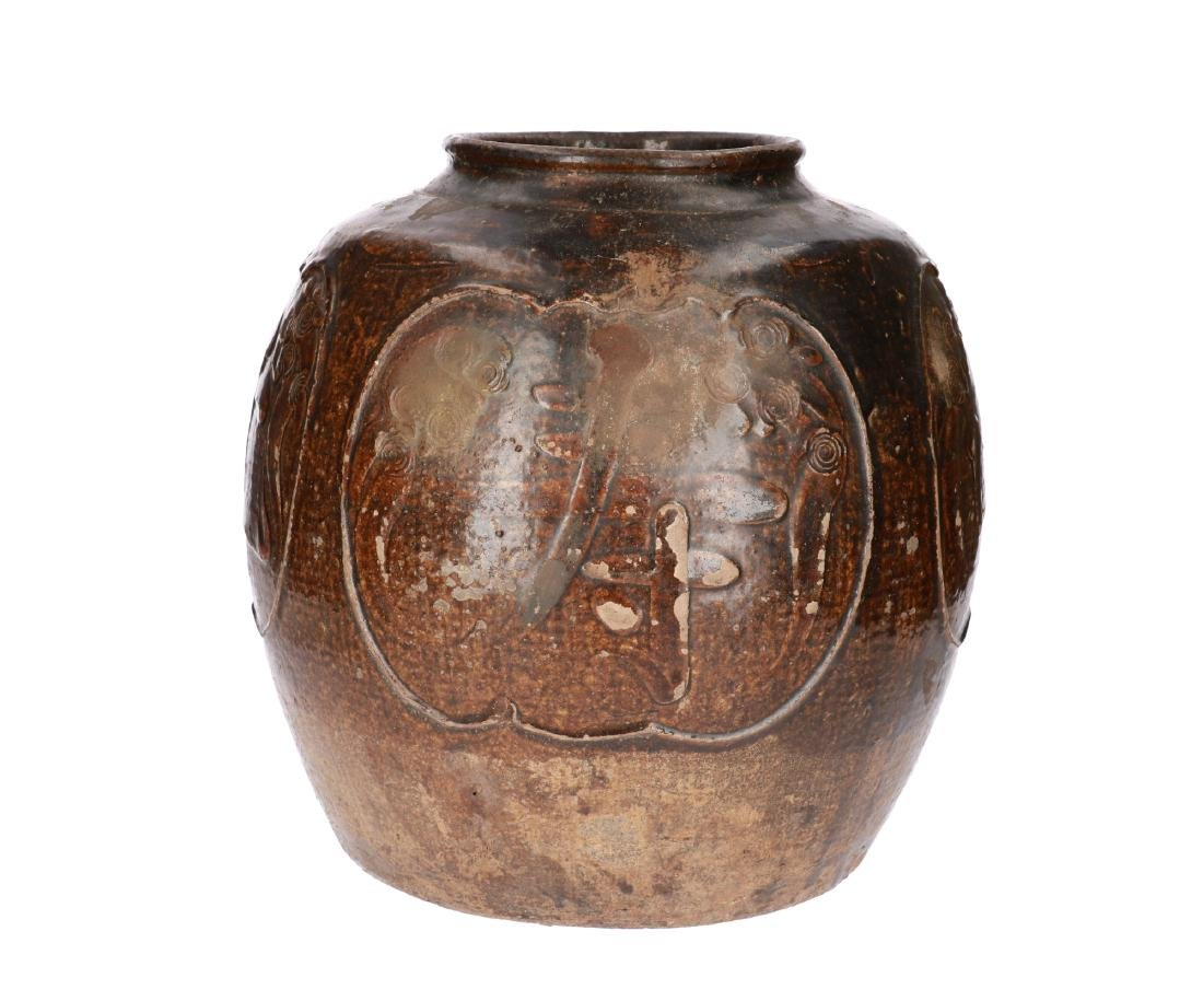 A large brown glazed Soo-Chou Martavan, decorated with