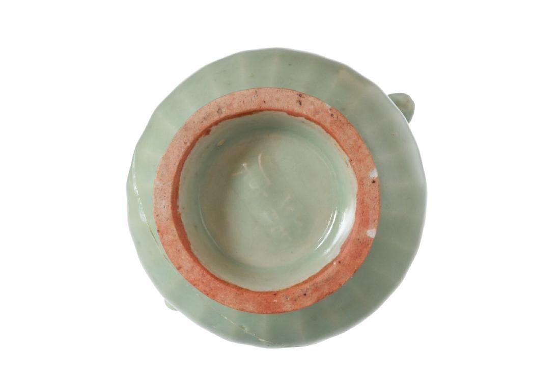 A celadon green glazed porcelain vase with handles. - 5