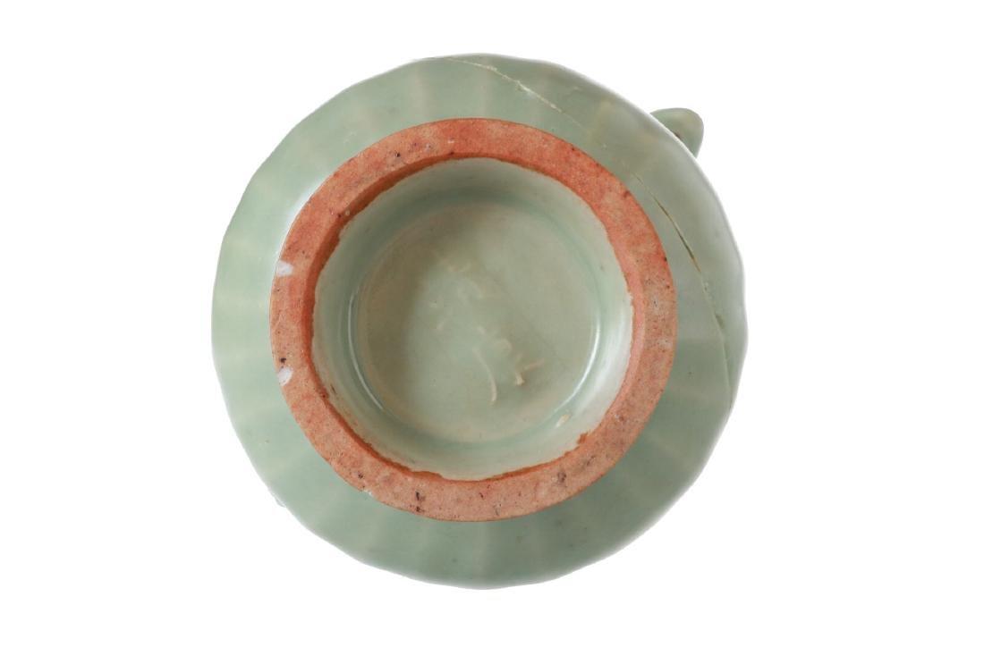 A celadon green glazed porcelain vase with handles. - 6