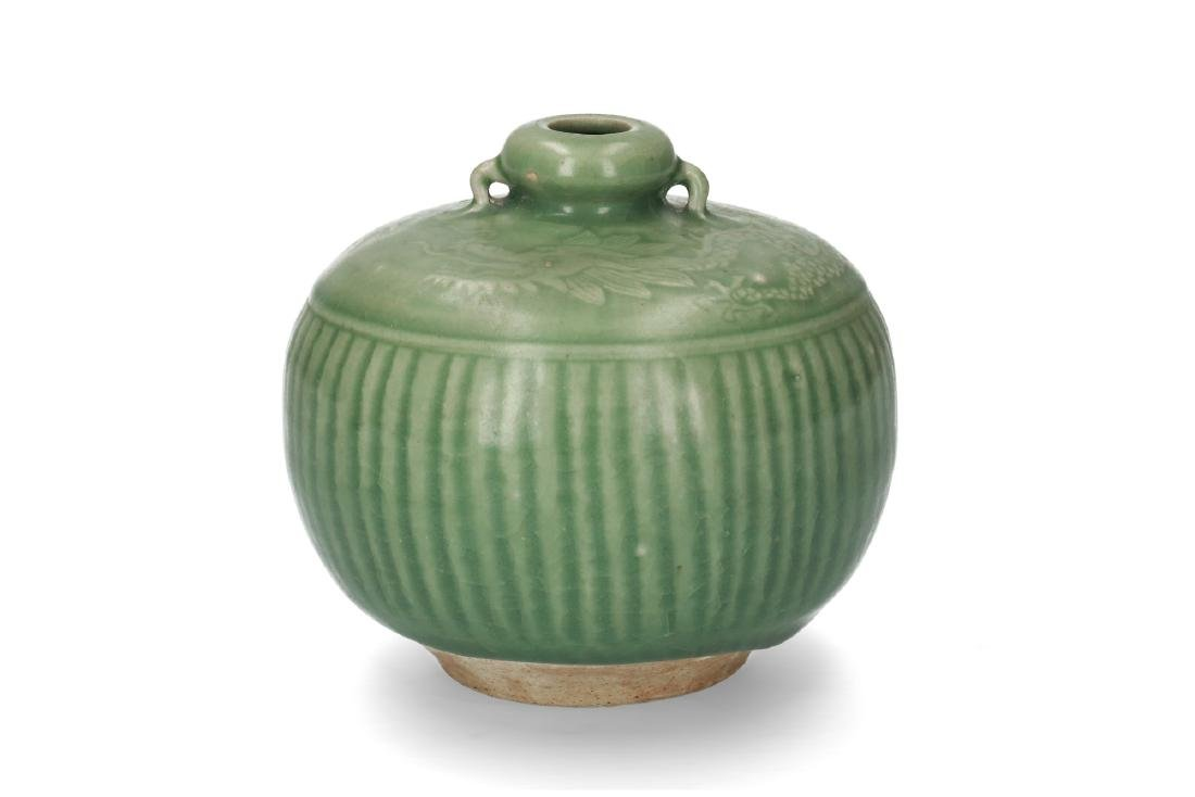 A green glazed celadon vase with decor of vertical - 2