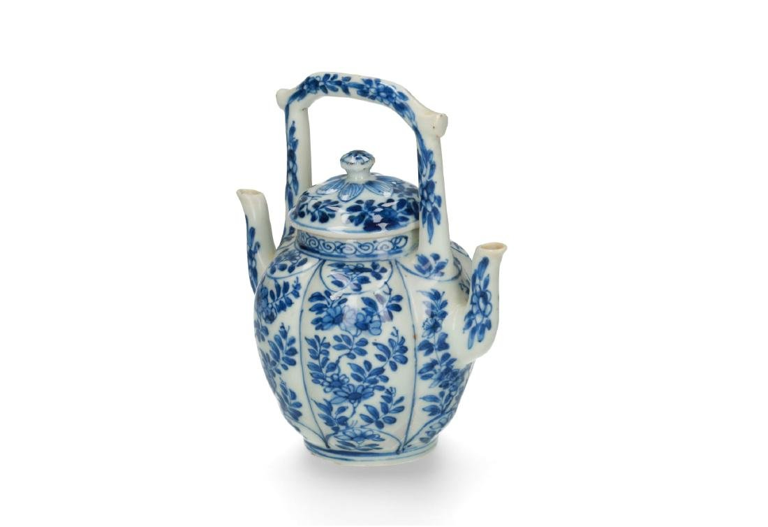 A rare blue and white porcelain lobbed jug with cover