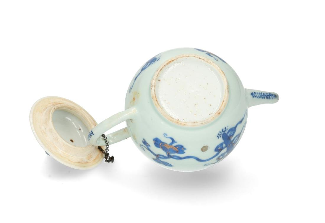 A blue and white porcelain teapot with partly gilt - 5