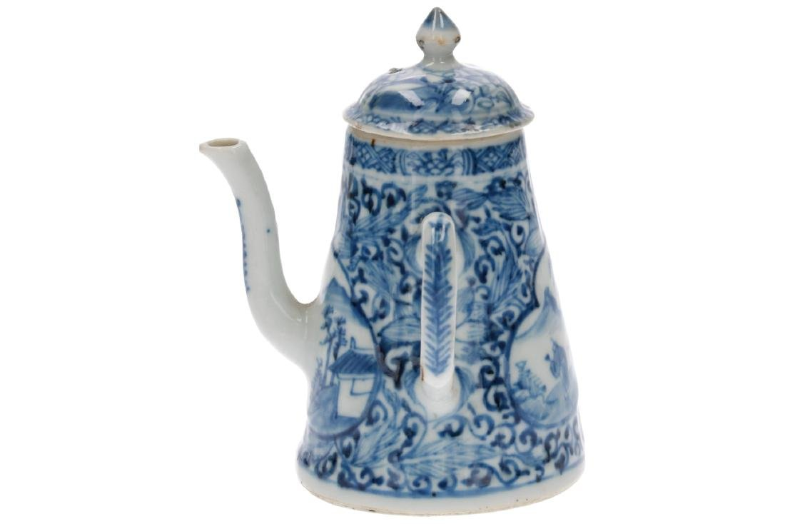 A blue and white porcelain teapot with the handle to - 2