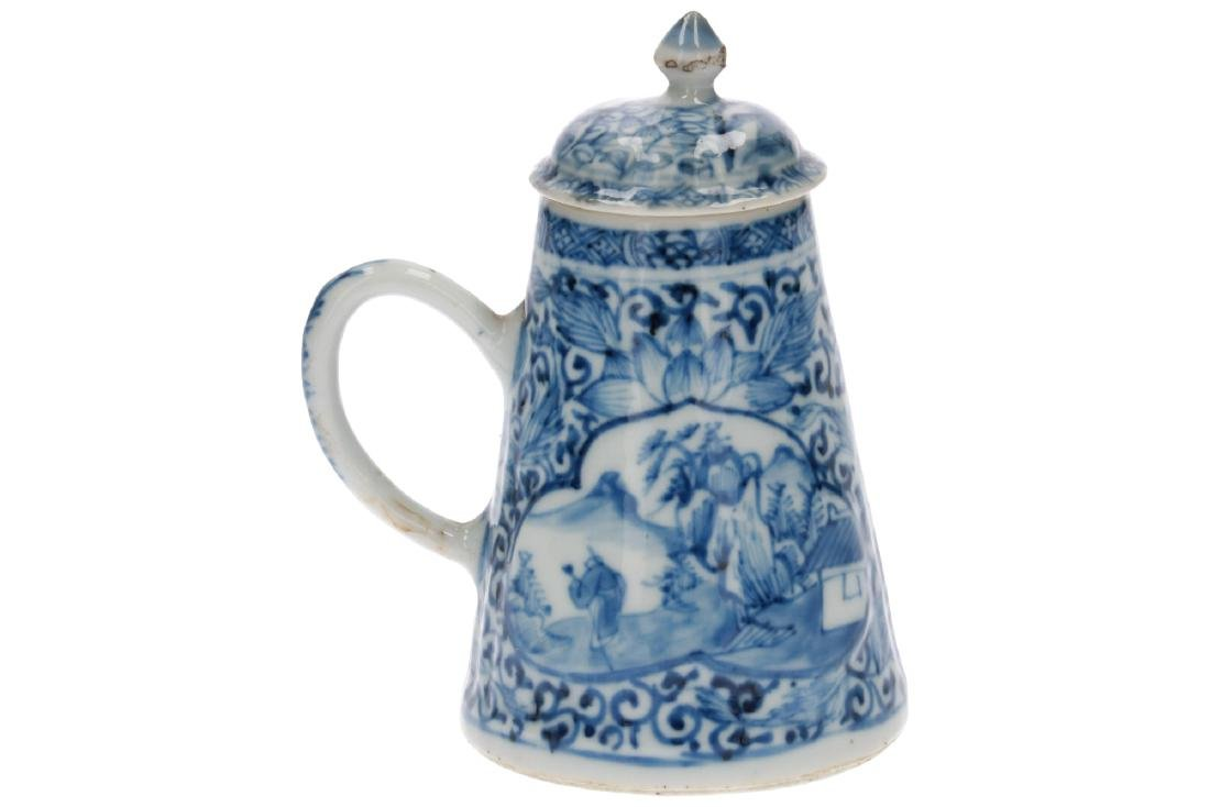A blue and white porcelain teapot with the handle to - 3