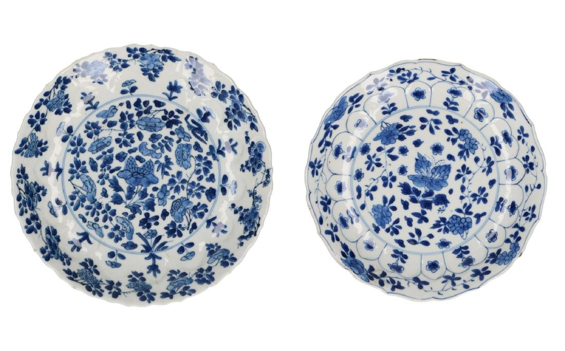Two blue and white porcelain dishes with scaloped rim,