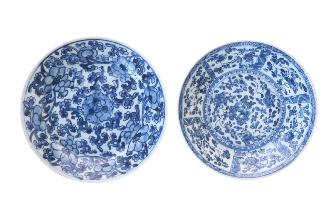 A lot of two blue and white porcelain dishes with