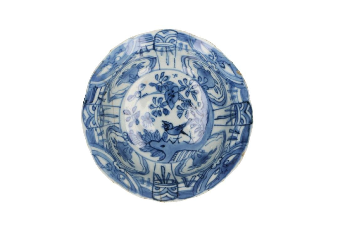 A lot of three blue and white 'kraak' porcelain bowls,