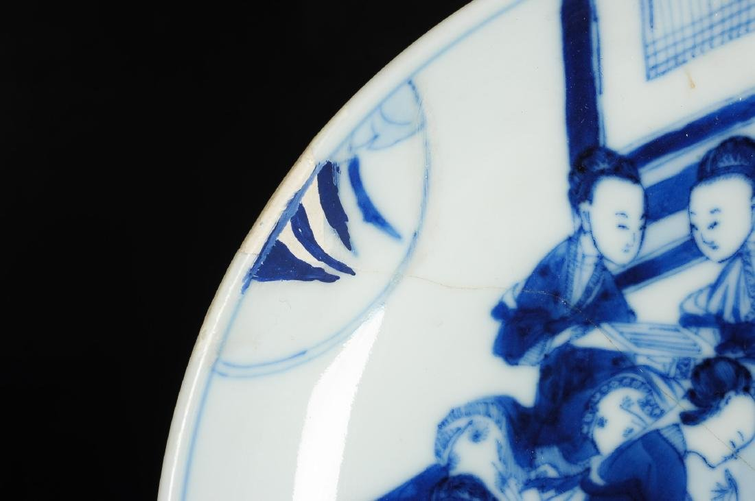 A blue and white porcelain dish with a decor of elegant - 2