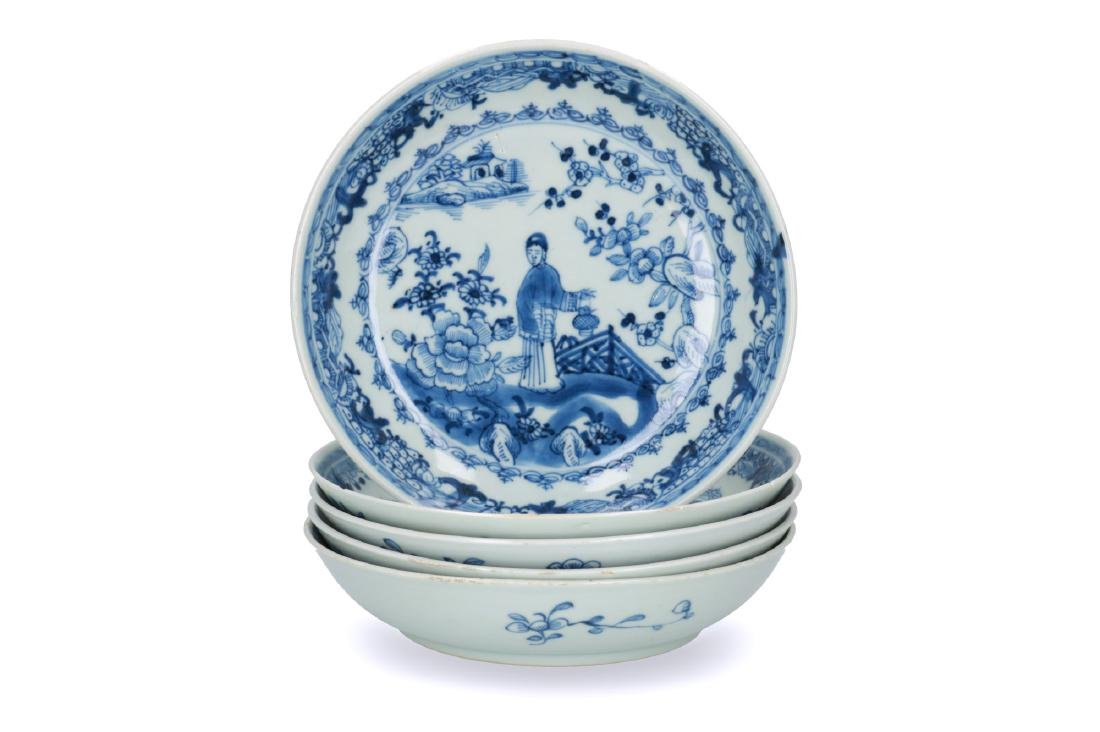 A set of five blue and white porcelain deep dishes,