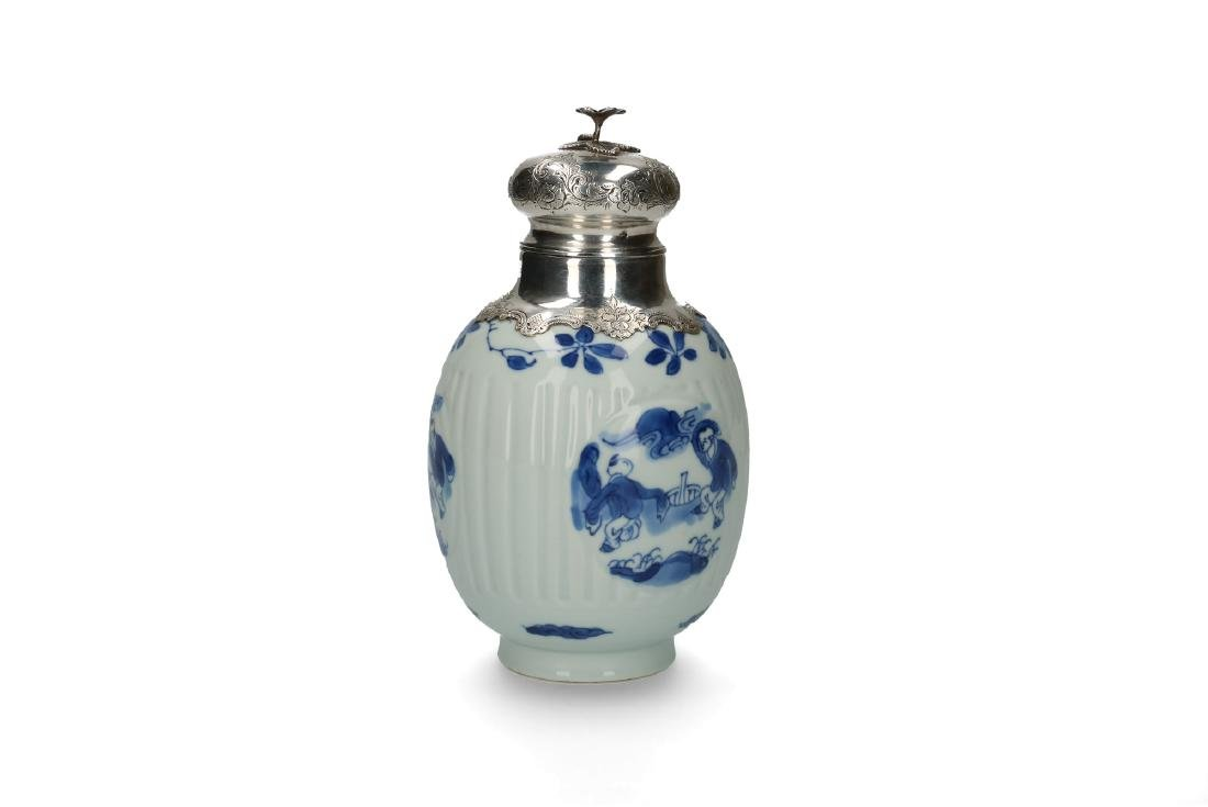 A blue and white porcelain ginger jar converted to a - 2