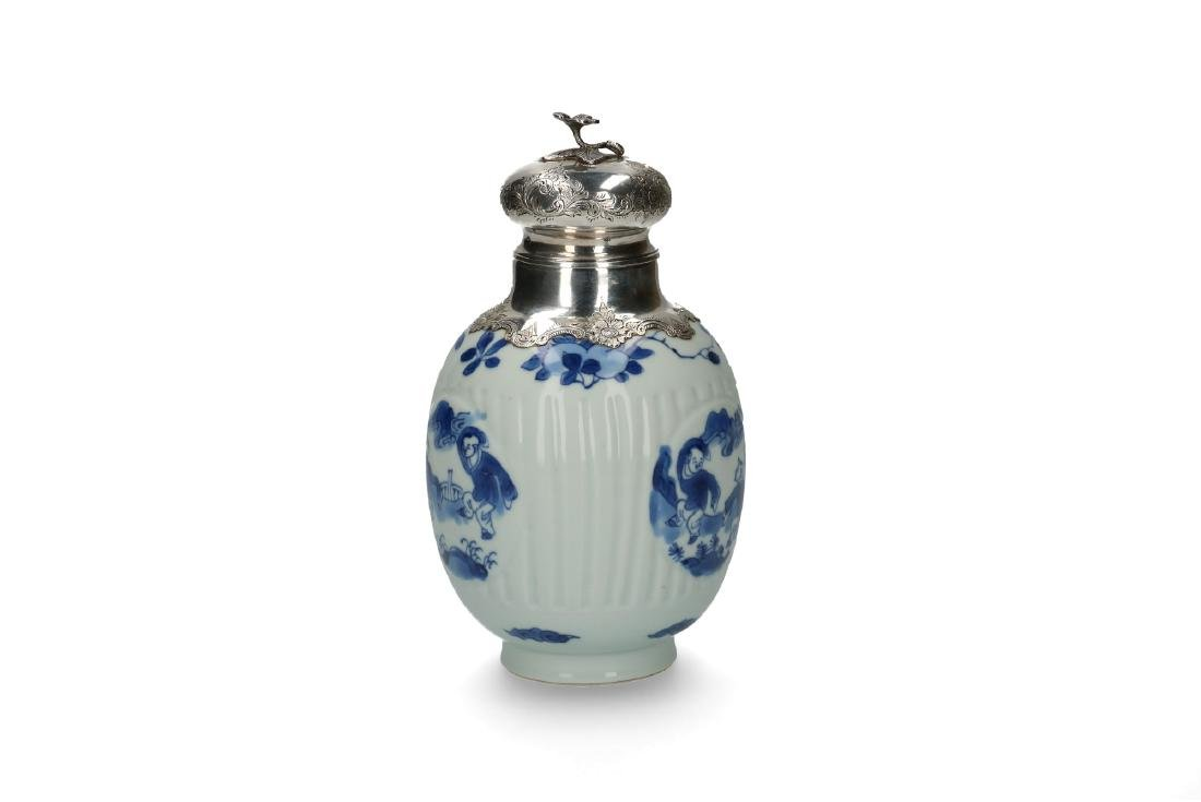 A blue and white porcelain ginger jar converted to a - 3