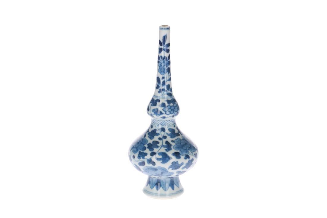 A blue and white porcelain sprinkler vase with floral - 2