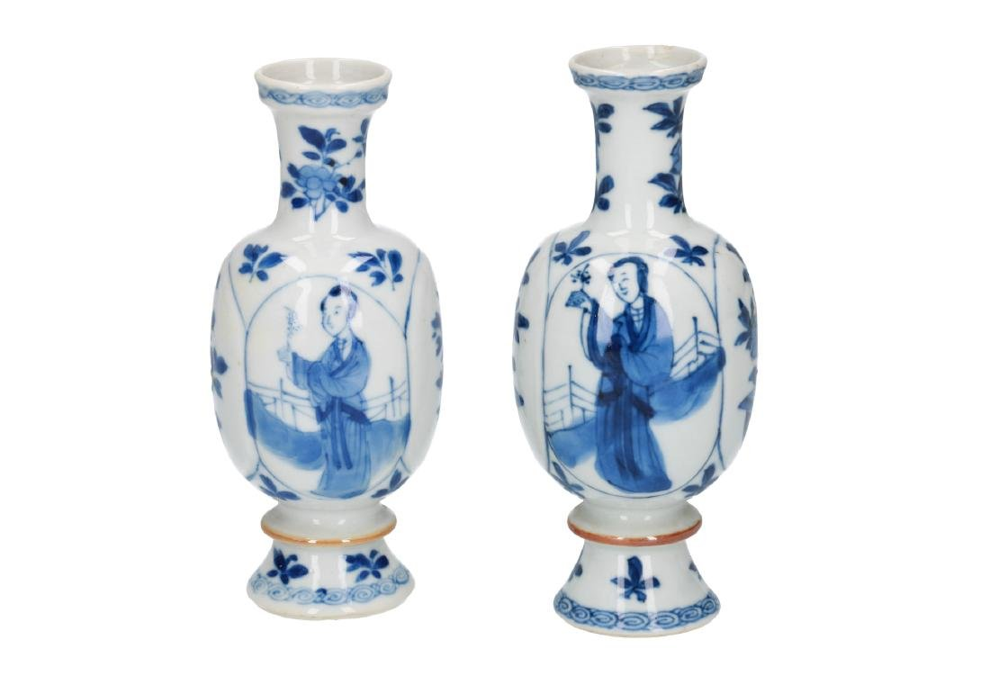 A pair of blue and white porcelain miniature baluster