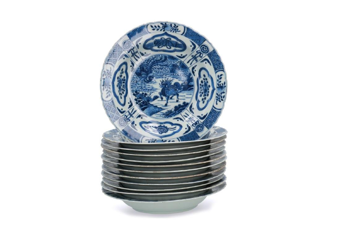 A lot of twelve blue and white porcelain deep dishes,
