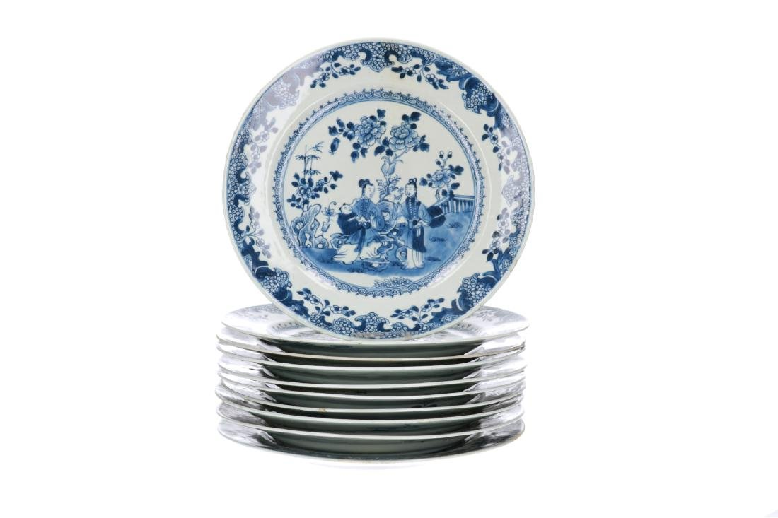 A set of ten blue and white porcelain dishes decorated