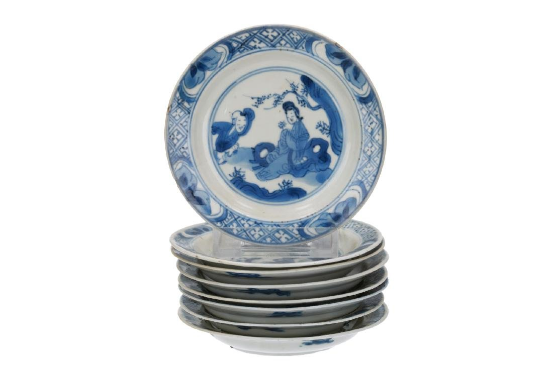A lot of eight blue and white porcelain saucers
