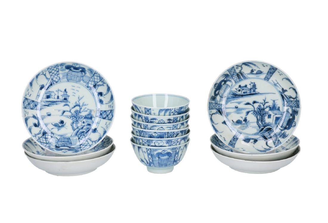 A lot of six blue and white porcelain cups with saucers