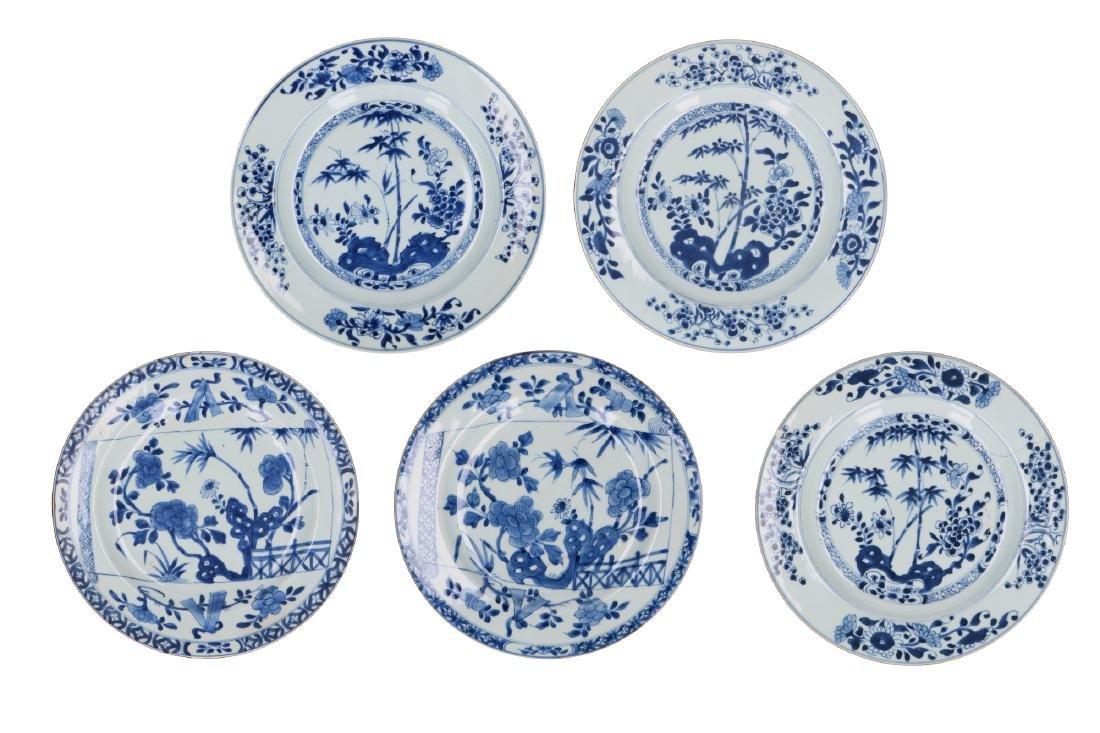 A lot of five blue and white porcelain dishes, of which
