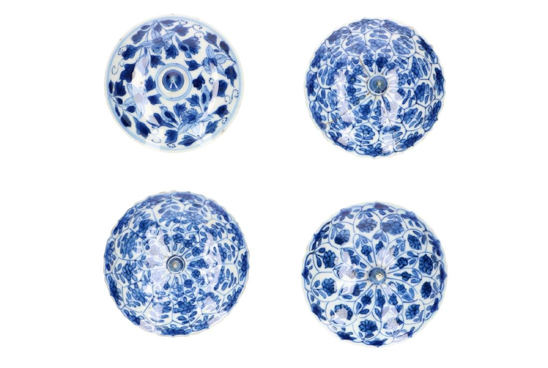 A lot of four blue and white porcelain covers decorated
