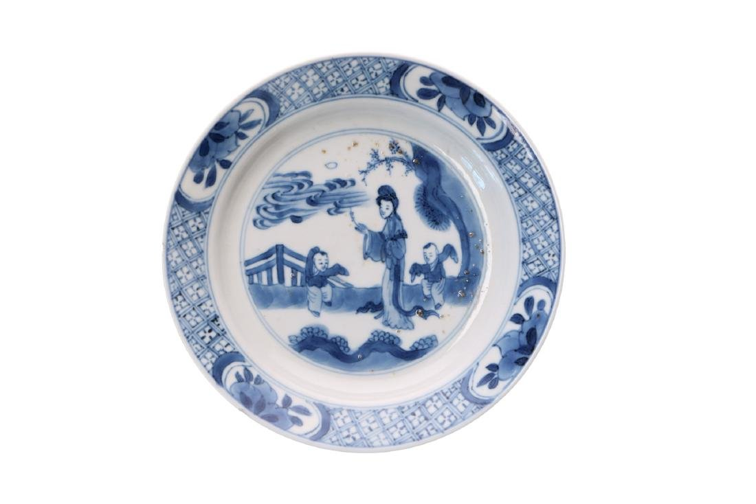 A lot of various blue and white porcelain items, 1) a - 7