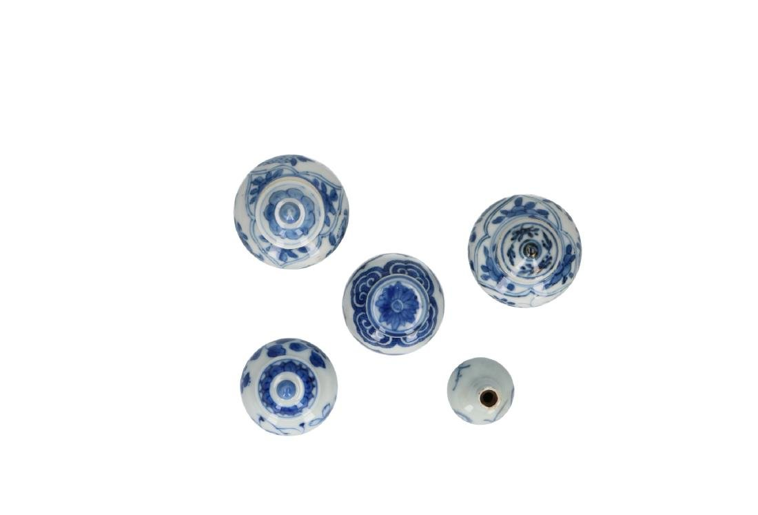 A lot of five blue and white porcelain miniature vases
