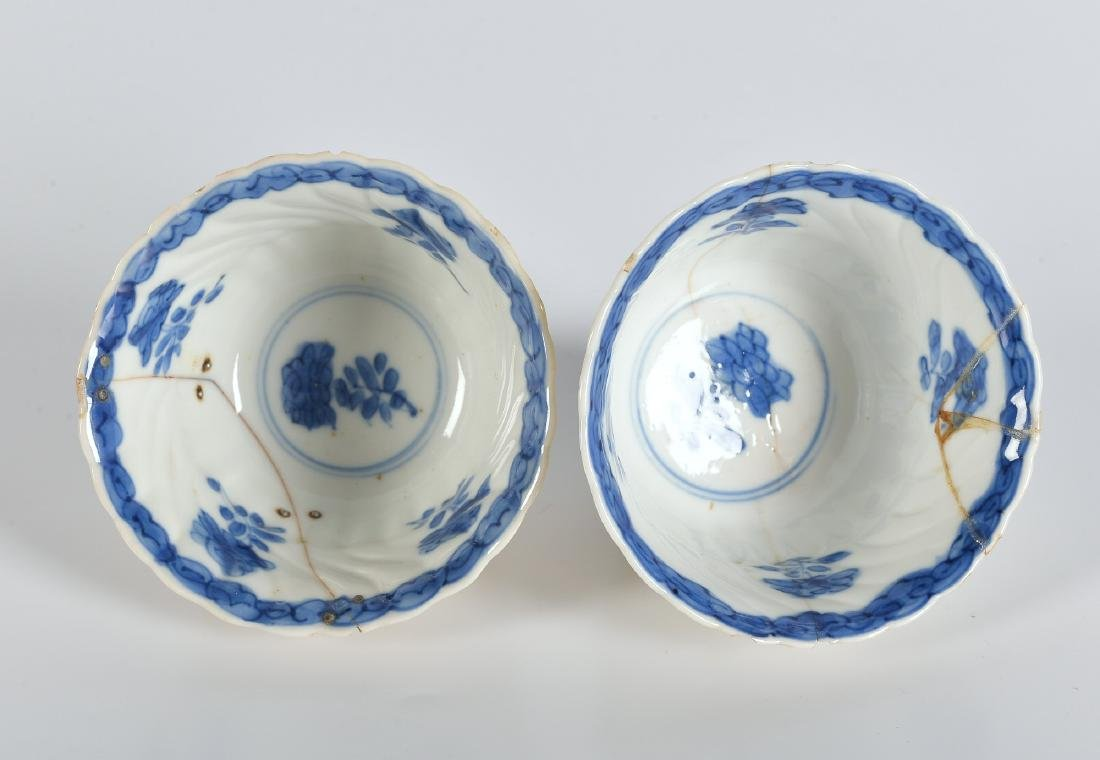 A lot of blue and white porcelain items, including