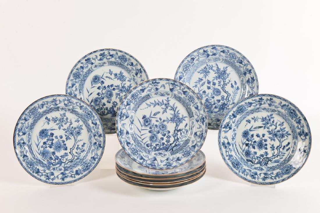 A set of ten blue and white porcelain plates with - 2