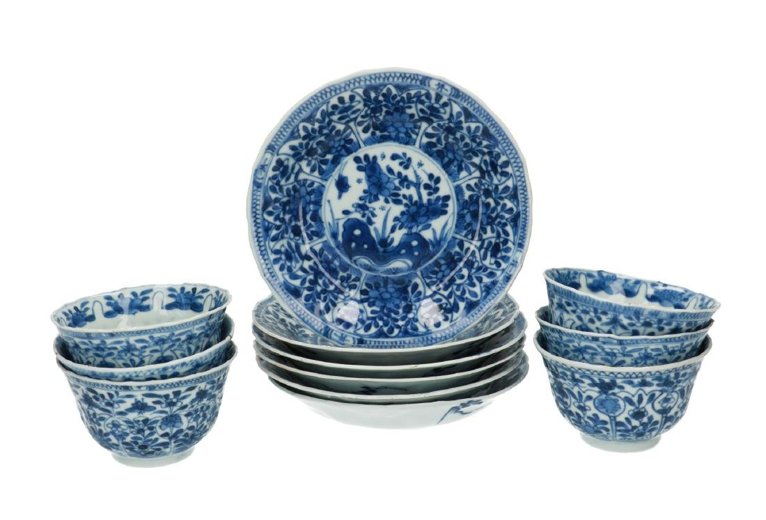 A lot of six blue and white porcelain cups with
