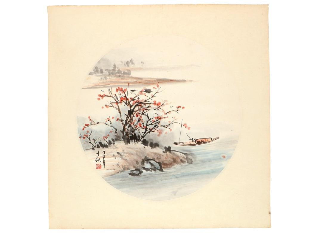 A watercolor drawing depicting a river landscape with