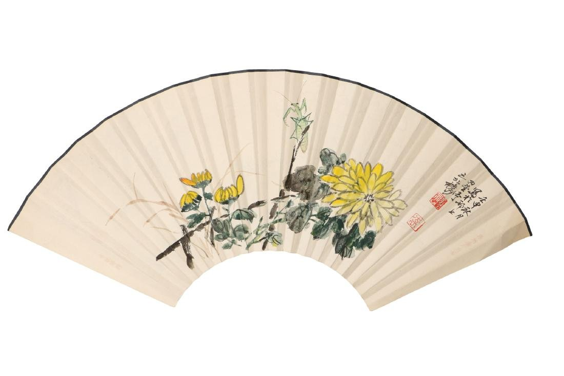 A lot of two fans, decorated with flowers, a - 3
