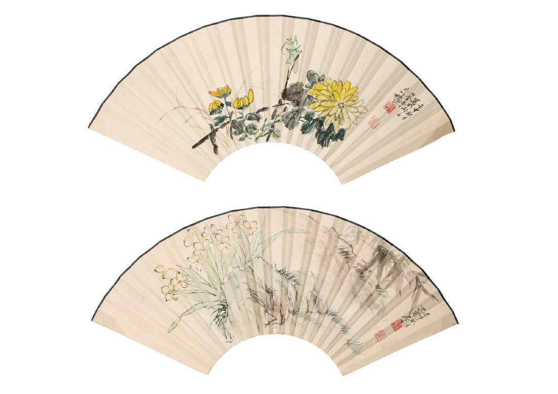 A lot of two fans, decorated with flowers, a - 4