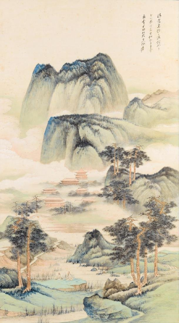 Scroll with a decor of a mountainous landscape with two