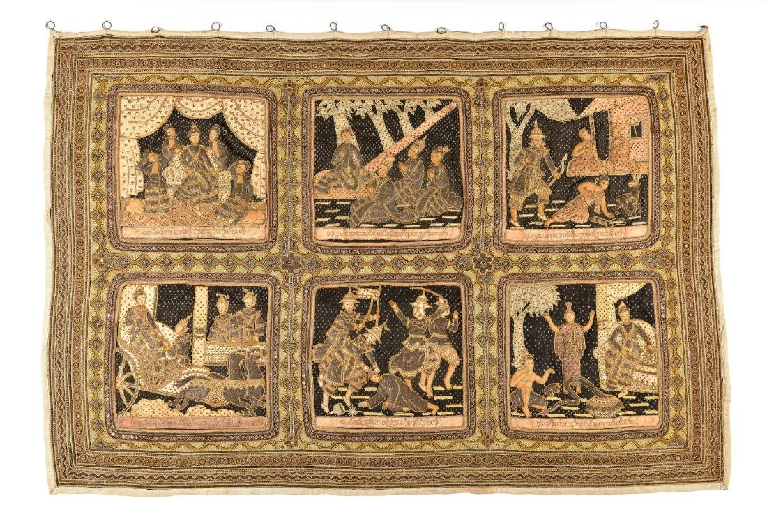 Kagala wall hanging devided in six panels, embroided