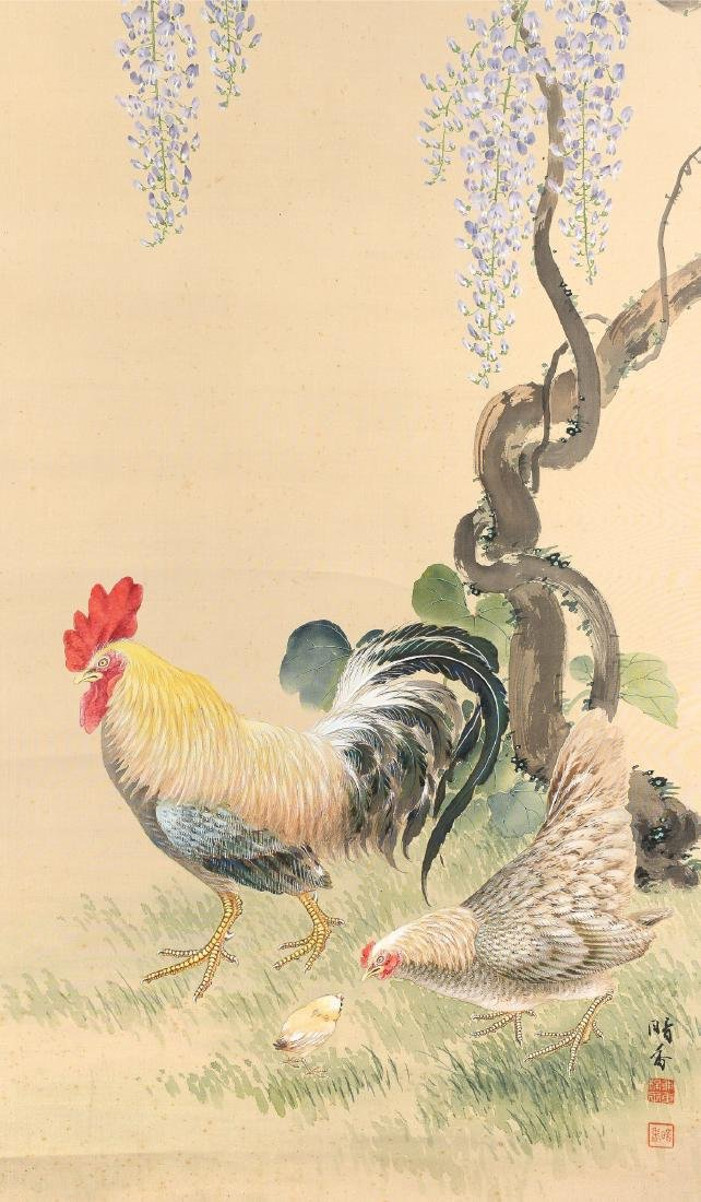 Silk scroll depicting a rooster, mother hen and
