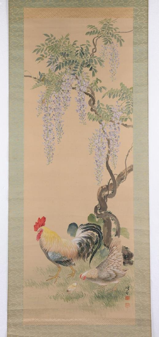 Silk scroll depicting a rooster, mother hen and - 2