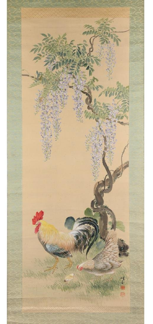 Silk scroll depicting a rooster, mother hen and - 5