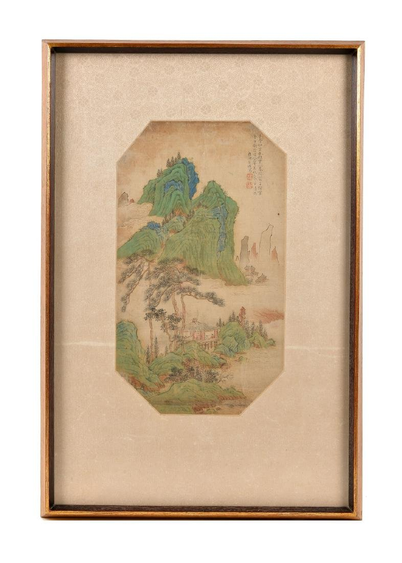 A painting on silk, depicting a pagoda in a mountainous