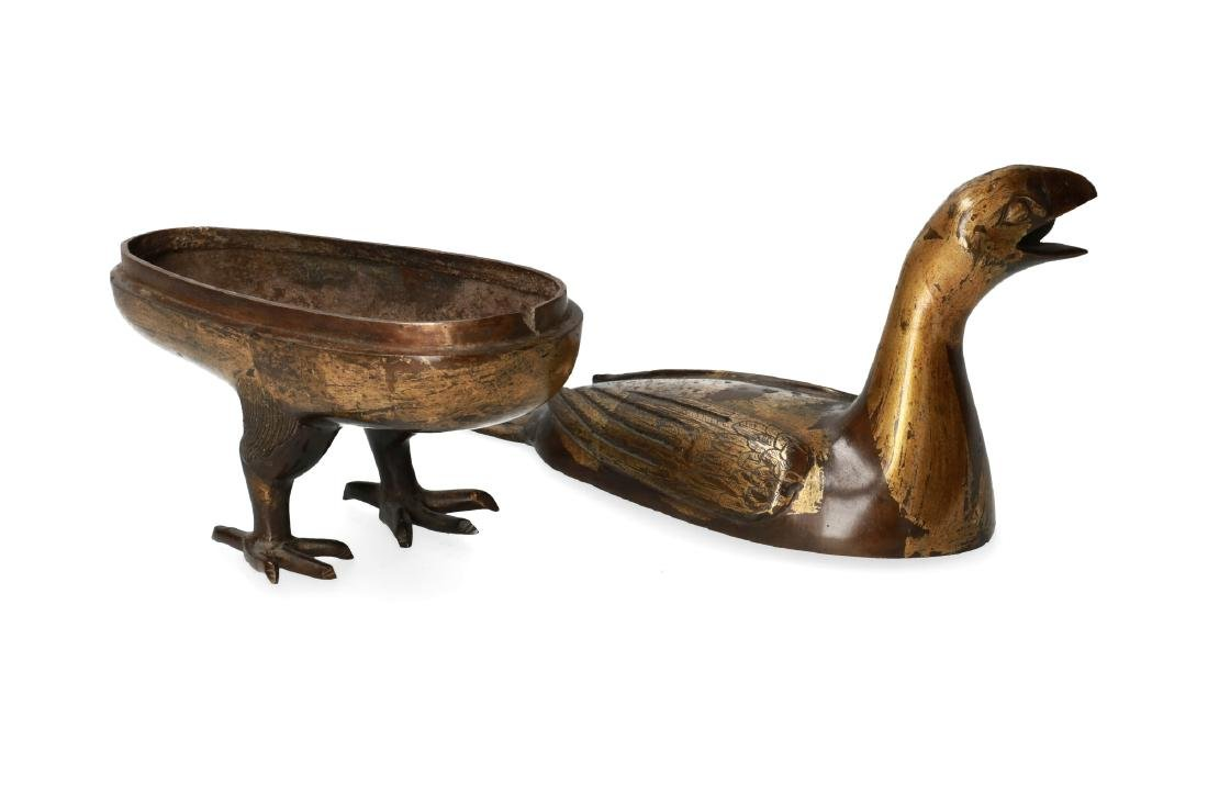 A pair of bronze perfume burners in the shape of birds. - 2