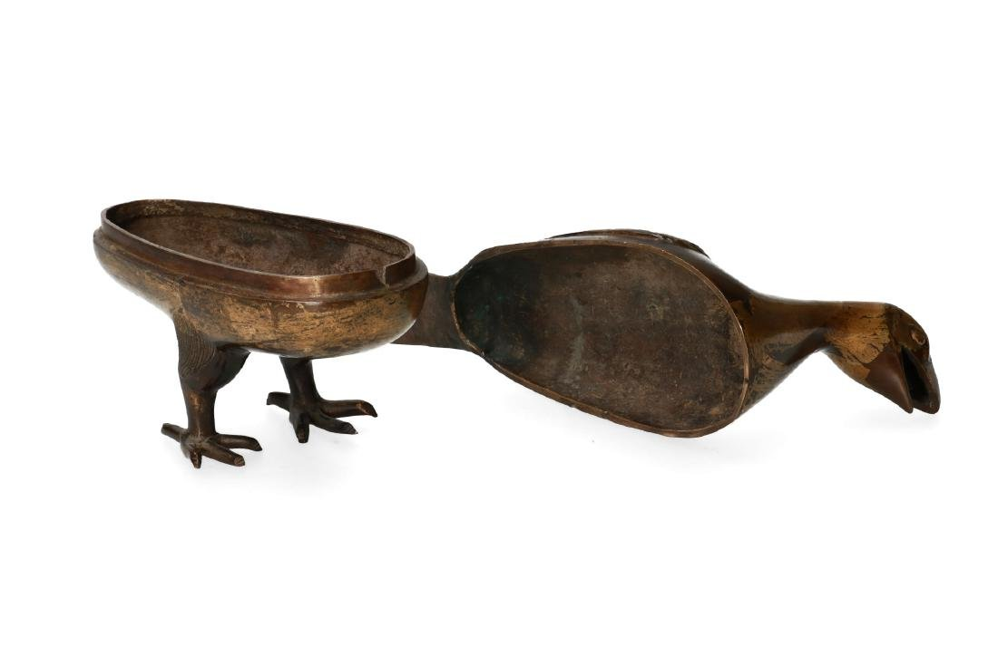 A pair of bronze perfume burners in the shape of birds. - 3