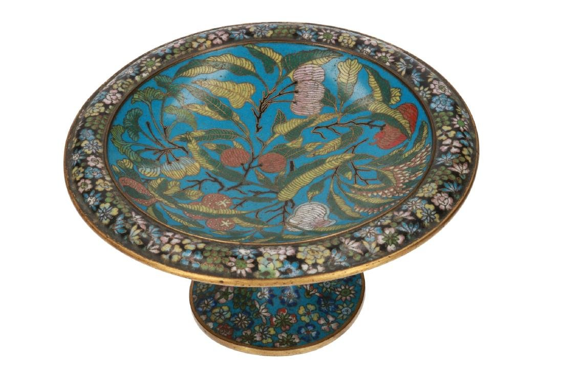 An cloisonné enamel tazza, decorated with flowers and
