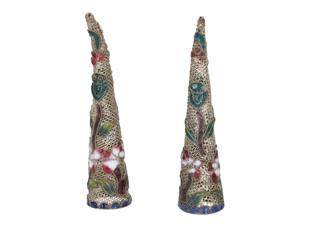 A pair of silver plated filigrain 'nail guards' in