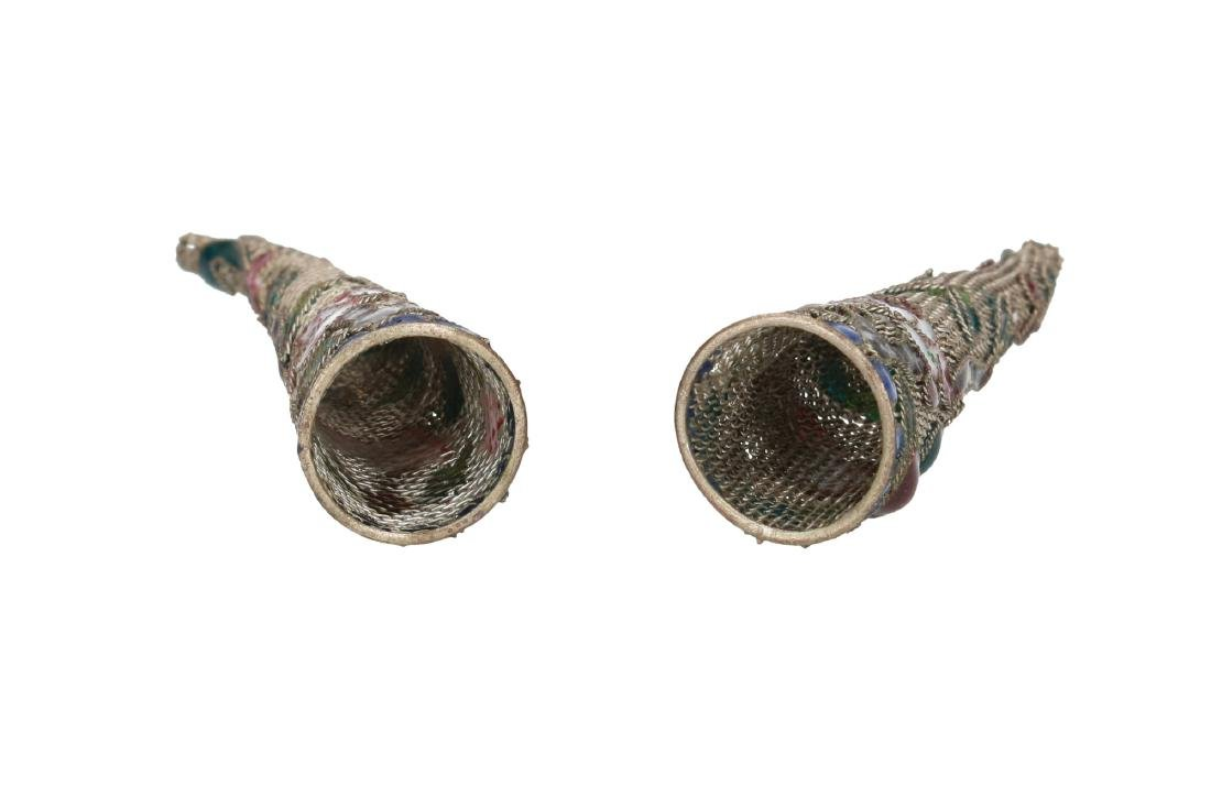 A pair of silver plated filigrain 'nail guards' in - 2