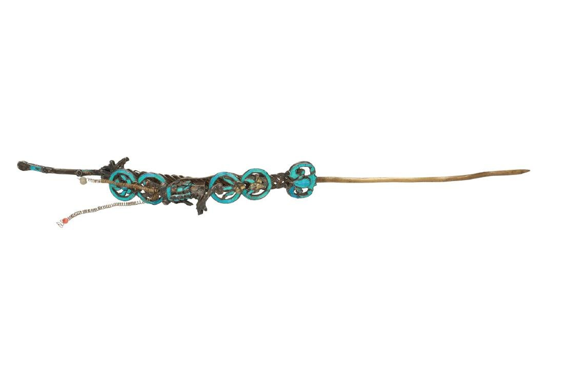 A hair ornament, decorated with a fish, Fu and