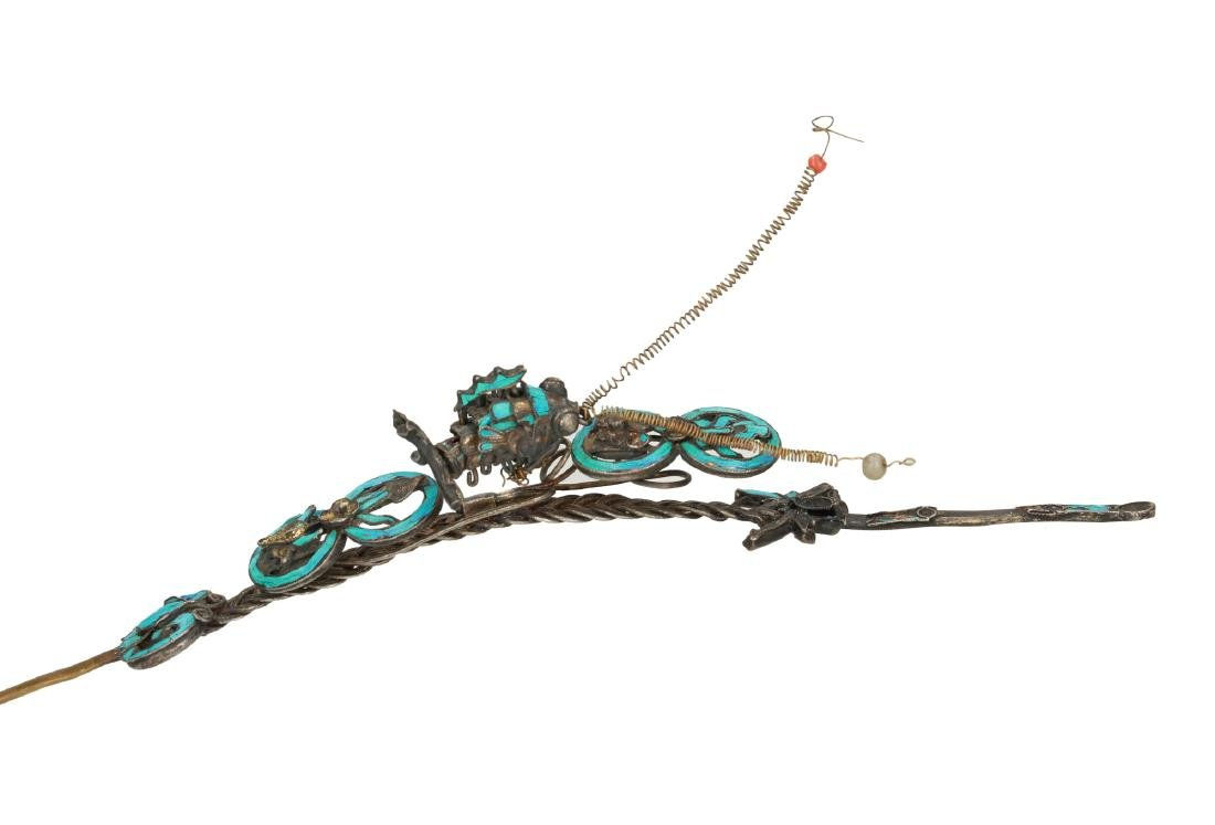 A hair ornament, decorated with a fish, Fu and - 2