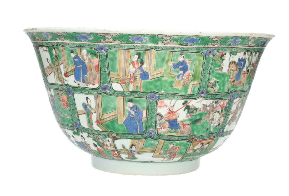 A large Famille Verte porcelain bowl, decorated to the