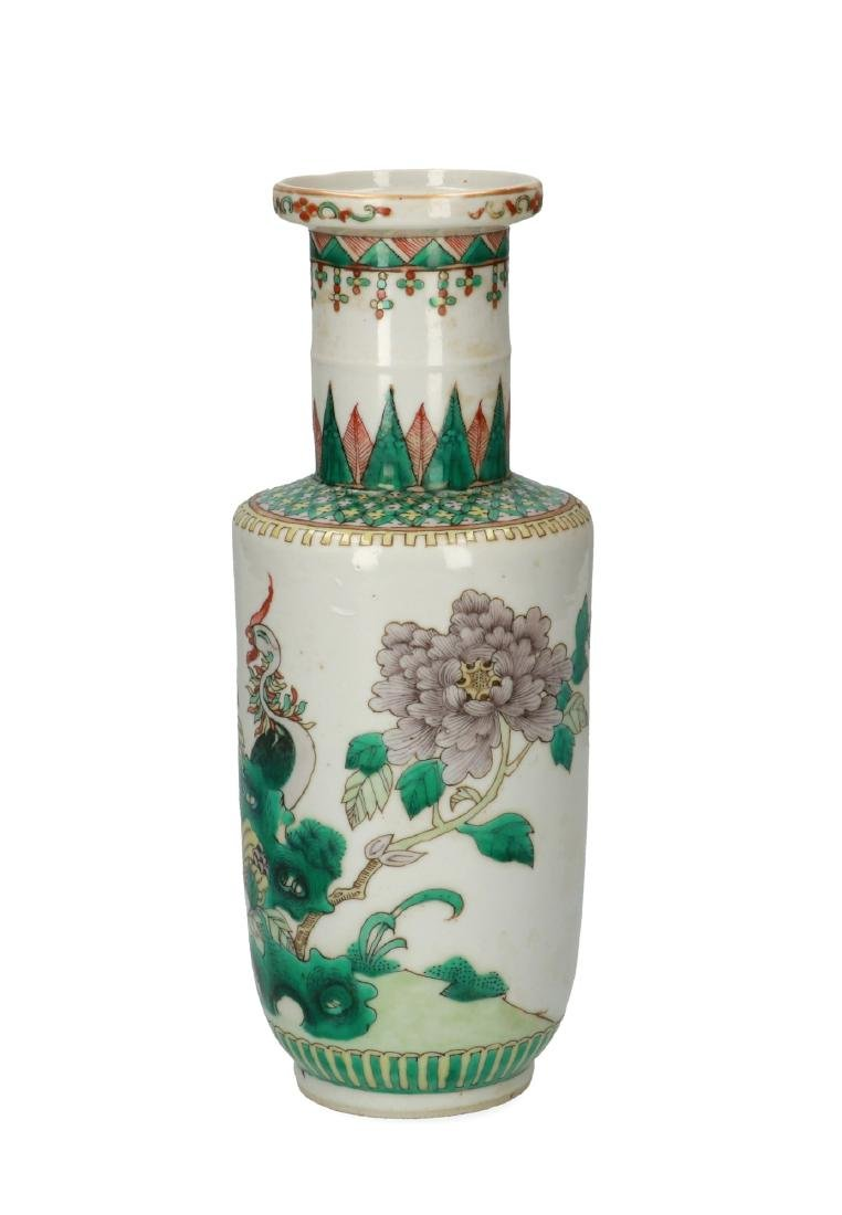A Famille Verte porcelain rouleau vase decorated with