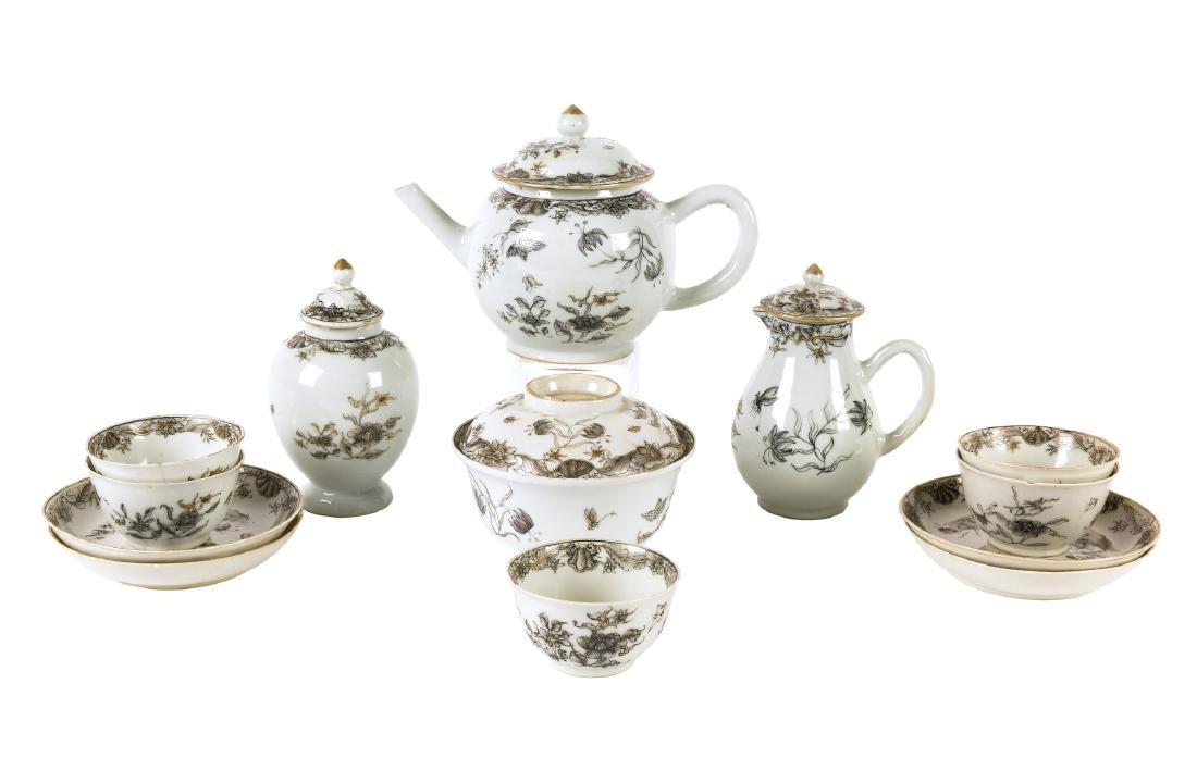 A 13-piece Encre-de-Chine tea service including cups,