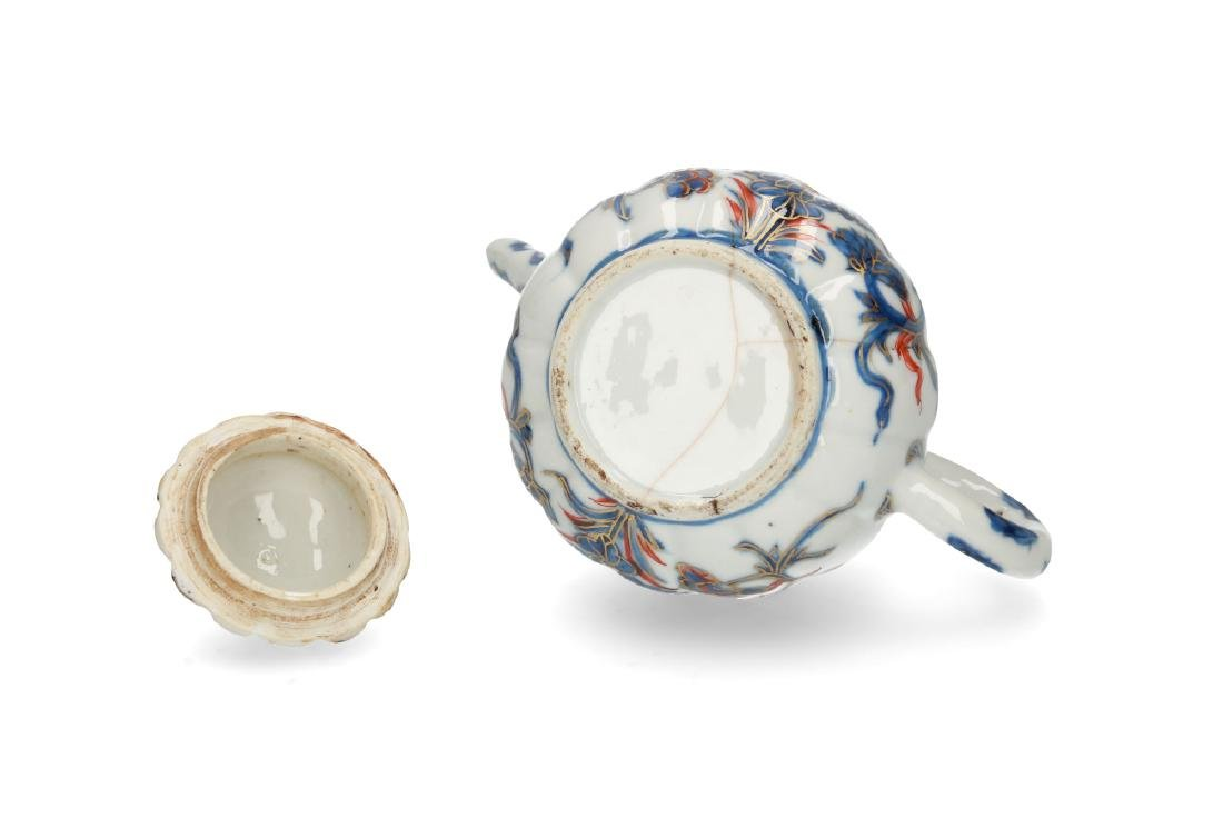 Two Imari porcelain teapots: 1) lobbed body with floral - 10