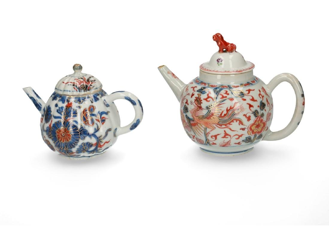 Two Imari porcelain teapots: 1) lobbed body with floral